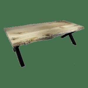 Boomstam tafel met industrieel X-frame