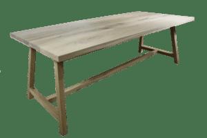 Rustiek New oak tafel met houten A-frame