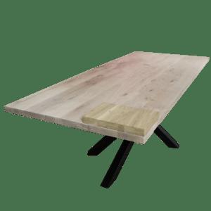 Rustiek eiken tafel met mikado frame