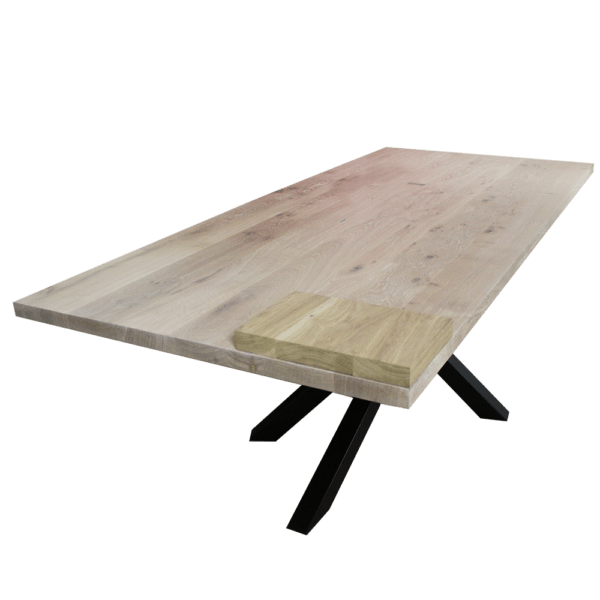Rustiek eiken tafel met mikado frame 1
