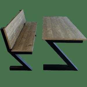 Steigerhouten tafel met bankje