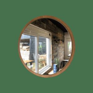 Rustiek eiken spiegel rond