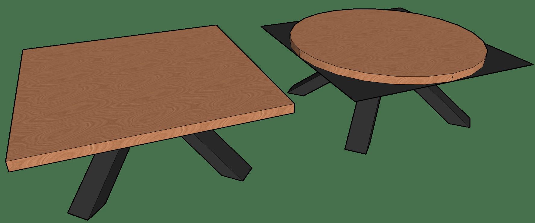 Sketchup tekening van salontafel rond en vierkant