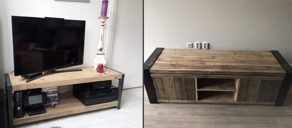 industrieel tv meubel van oude balken of steigerhout