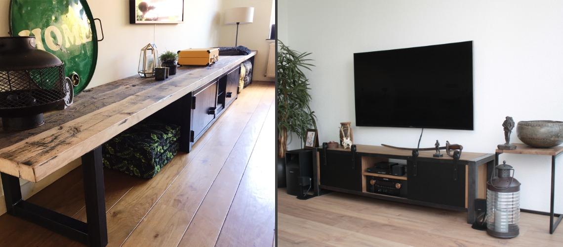 industrieel tv-meubel vintage oak en wagondelen