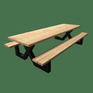 Picknicktafel met balken groot
