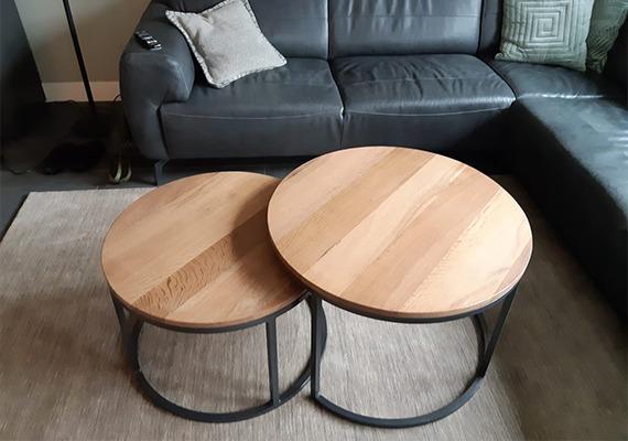 Setje van 2 ronde tafels