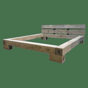 Eiken balkenbed-ombouw met hoofdsteun
